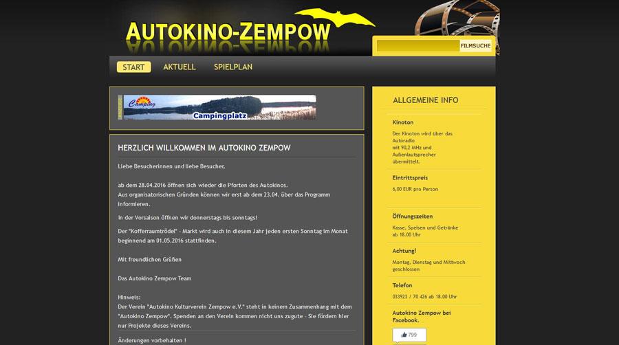 Autokino Zempow Webseite